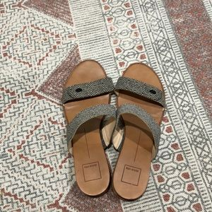 Black and cream pattern slide sandals